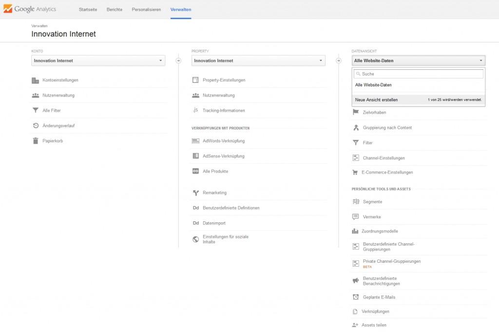 Google Analytics: Eine neue Datenansicht erstellen