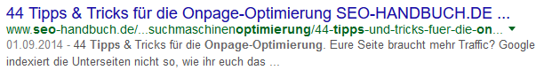 OnPage SEO: Screenshot Google Snippet